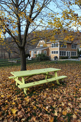 Picnic table in park in autumn