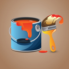 Brush and Paint Can