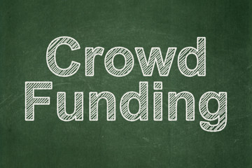 Business concept: Crowd Funding on chalkboard background
