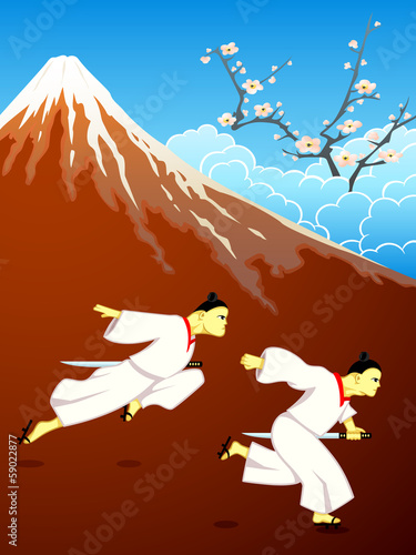 Running samurai over Mt. Fuji and blossoming sakura