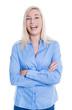 Portrait einer lachenden Auszubildenden isoliert in blauer Bluse