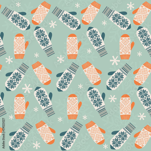 Seamless background with mittens. Vector