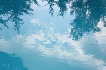 Reflection of blue sky in water