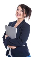 Junge Frau isoliert in der Berufsausbildung mit Bewerbungsmappe