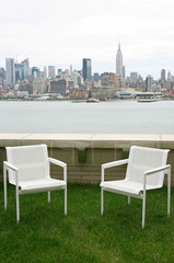 Outdoor seating with view Manhattan skyline in New York City