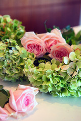 Group of pink roses and hydrangea