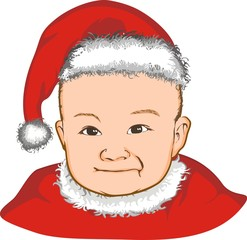 baby with santa claus hat