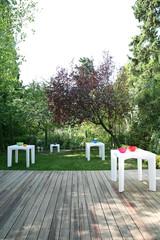 Wooden deck in garden