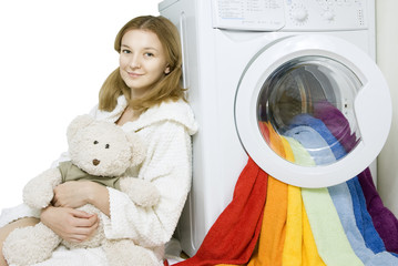 girl and washing machine