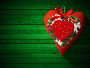 Christmas Heart Decoration on Wooden Wall
