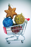 christmas ornaments in a shopping cart