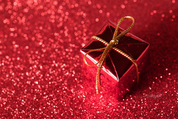 gift box present for christmas on red background
