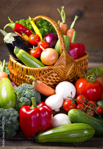 Fresh, organic vegetables in the basket