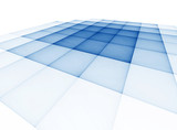 Abstract blue checkered surface on a white background