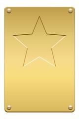 Plaque étoilée en or vissée