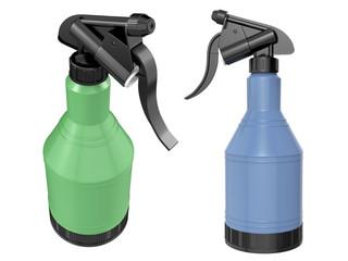 Plastic spray bottles on white background. 3D image
