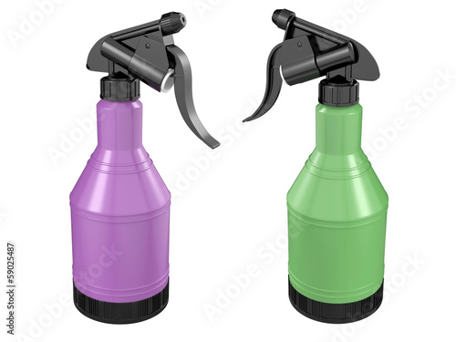 Plastic spray bottles on white background. 3D image