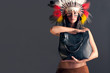 American Indian girl with bag