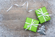 Gift boxes with bow and snowflakes