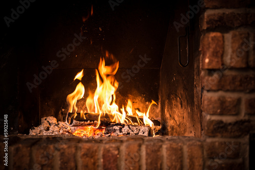Foto op Canvas Vuur / Vlam Fire in fireplace