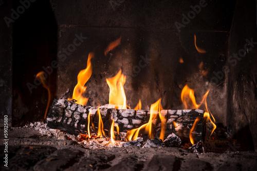 In de dag Vuur / Vlam Fire in fireplace