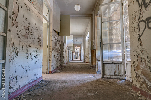 corridor of an abandoned building