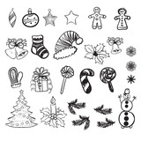 Set of vector illustrations of Christmas doodles