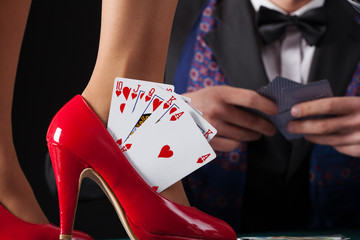 Royal flush in womans high heels
