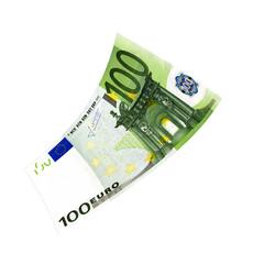 100 Euroschein fliegt