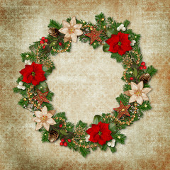 Vintage shabby background with a wreath Christmas decorations