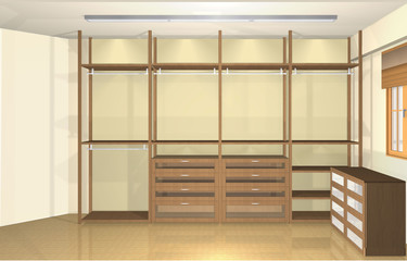 Spacious modern dressing room, variations of cloakroom