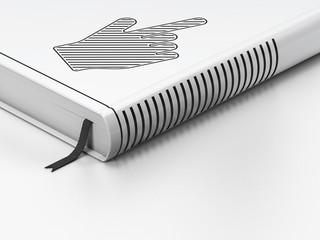 Social media concept: closed book, Mouse Cursor on white