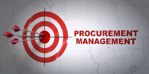 Finance concept: target and Procurement Management on wall