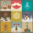Set of Christmas greeting card. Vector