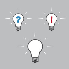 Isolated lightbulbs with question and exclamation marks