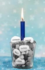 Kerze zum Geburtstag - Geburtstagskarte mit Text in Blau