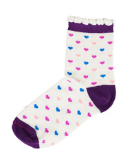 Knitted socks with red hearts