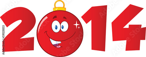 2014 Year Numbers With Cartoon Red Christmas Ball