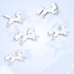 Christmas background with silhouettes of horses