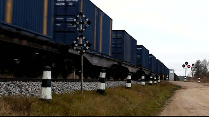 Rail crossing by train and wagons episode 1