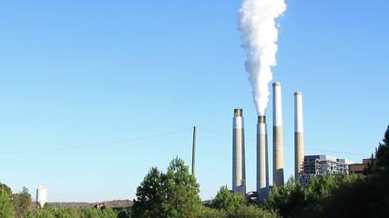 Belews Creek Steam Station with smoke billowing