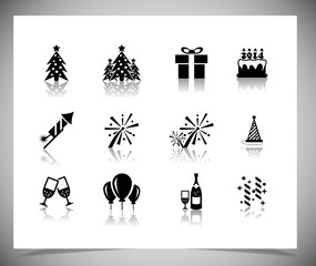 Set of black new year icons.