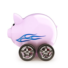 Sports car savings  Piggy bank with wheels on a white