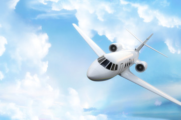 Private business jet with sky background