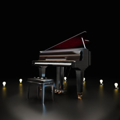 Elegant piano center stage with lighting accents © storm