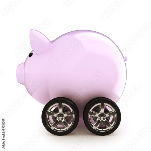 Car savings Piggy bank with wheels on a white background