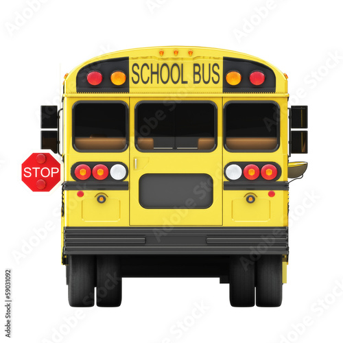 Shoolbus back view with stop sign