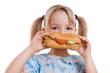 canvas print picture - Kind beim Essen eines belegten Brötchen