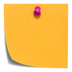Orange square sticky note, with pink pin, isolated with shadow