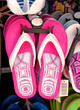 Pink flip flops at the market